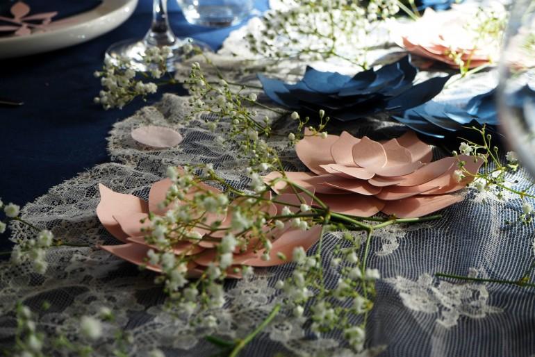 La nappe marine, la dentelle et les fleurs de papier.